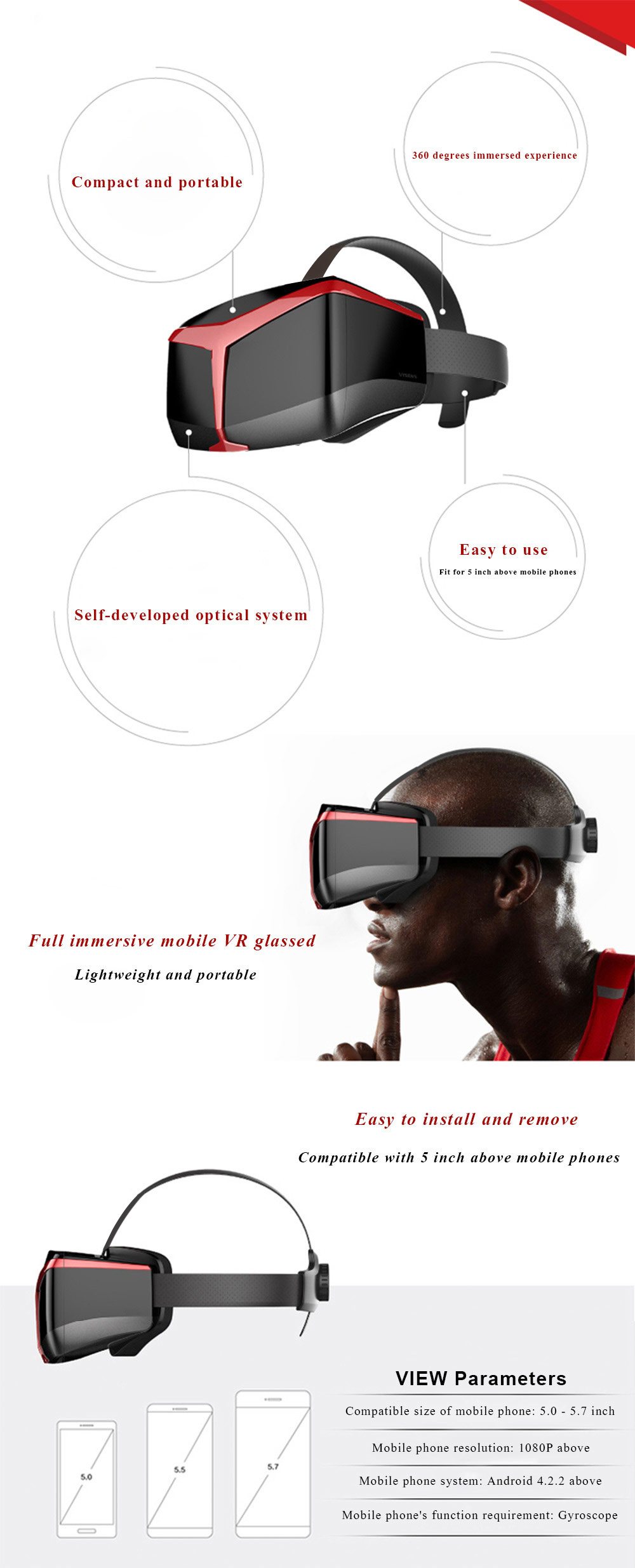 UCVR VIEW VR Glasses 3D Virtual Reality Private Theater 360 Degrees Full View