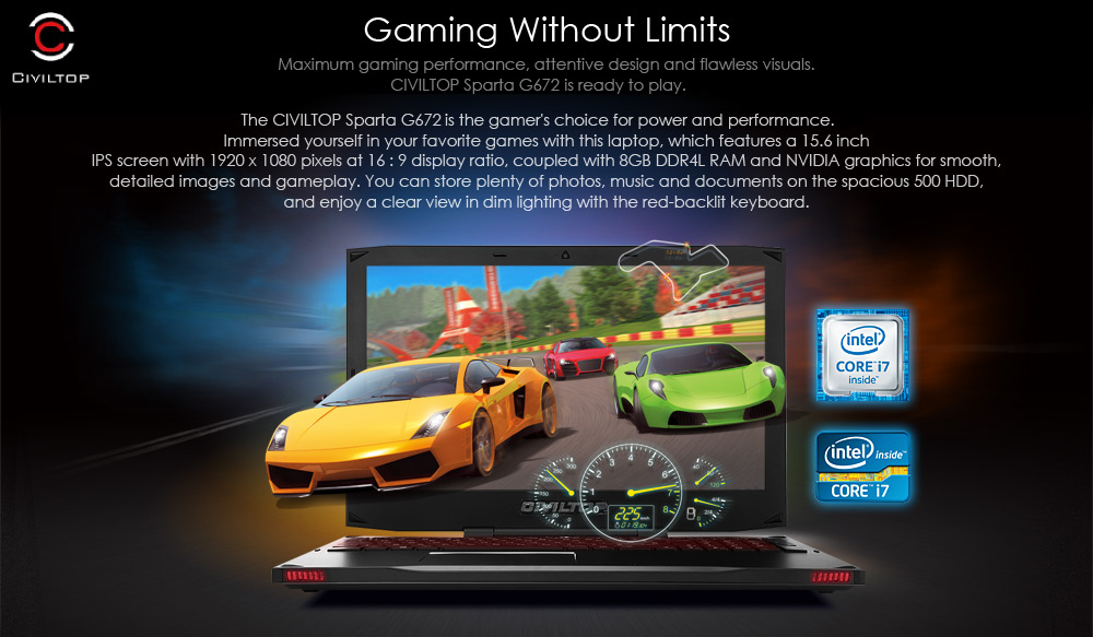 CIVILTOP G672 15.6 inch Gaming Notebook DOS OS Intel Core i7 6700HQ Quad Core 2.6GHz 8GB RAM 500GB HDD IPS FHD Screen Built-in Camera HDMI