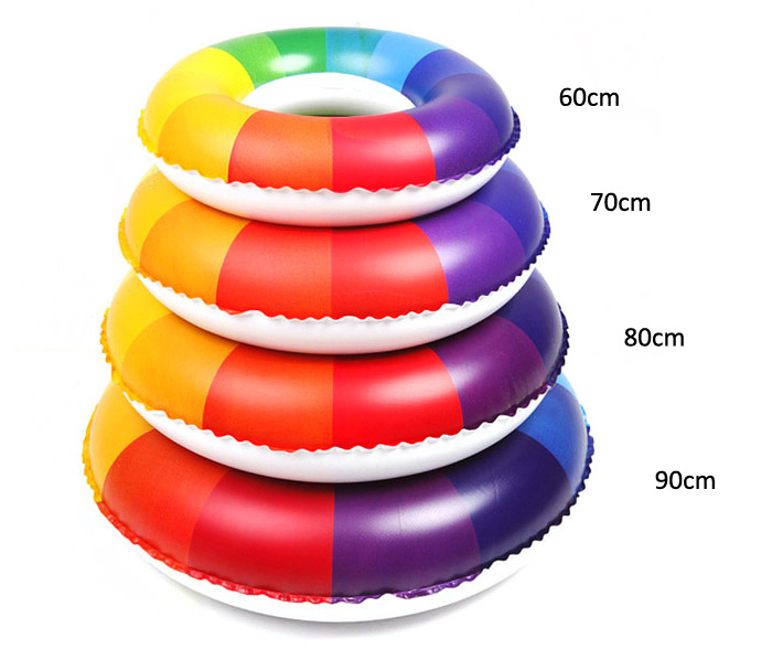 Inflatable Rainbow Swim Ring Kids Swimming Float for Summer Water Sports
