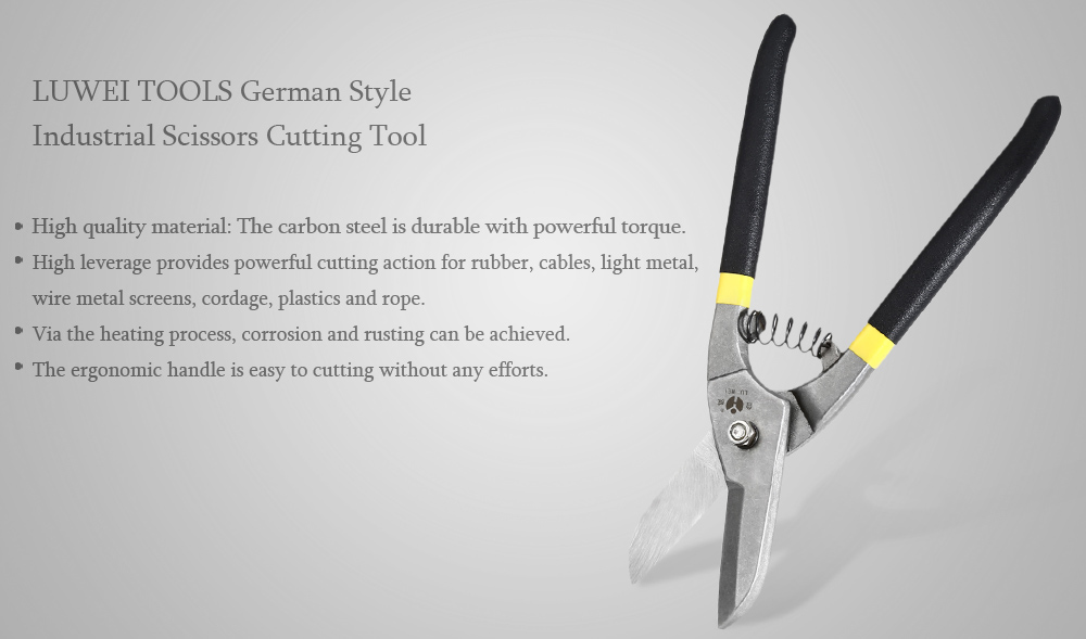 LUWEITOOLS Carbon Steel German Style Industrial Scissors Cutting Tool with Straight Handle