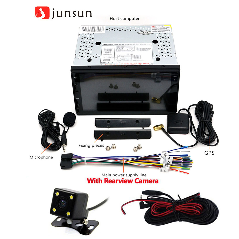 Junsun R167S Android 4.4 7.0 inch 2 Din Car Media Player Support GPS FM Transmitter AM Radio TV Tuner Bluetooth Function with Rearview Camera