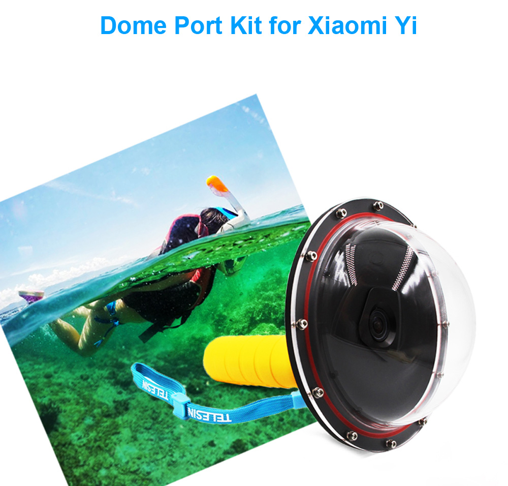 TELESIN Dome Port Underwater Diving Camera Cover Lens with Floaty Grip Bobber for Xiaomi Yi Action Sport Camera