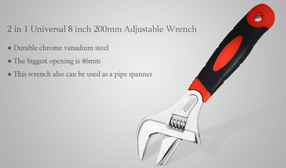 2 in 1 Universal 8 inch 200mm CR-V Adjustable Wrench Pipe Spanner Hand Tool