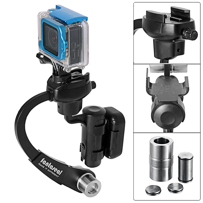Fantaseal Bow Design 3-axis Inertia Gyroscope Gimbal Stabilizer Balancer with Controller Mount for GoPro Hero 4 / 3+ / 3