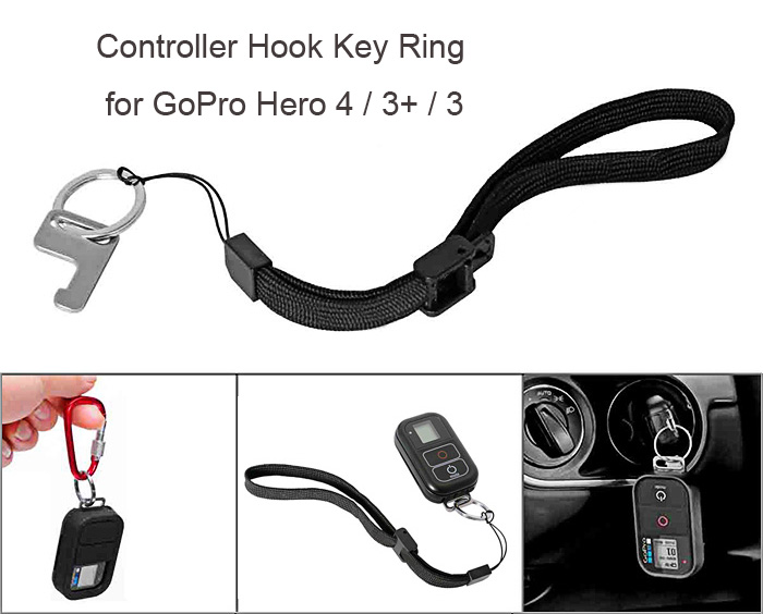 Fantaseal Controller Hook Key Chain with Wrist Strap Kit for GoPro Hero 4 / 3+ / 3
