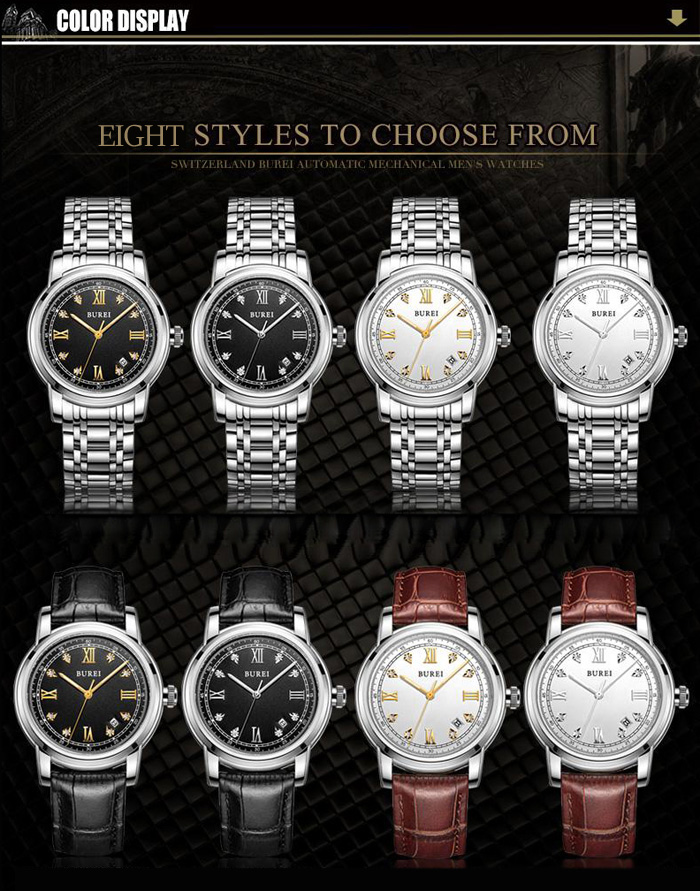 BUREI Business Automatic Mechanical Male Watch with Customized Rhinestone Scale