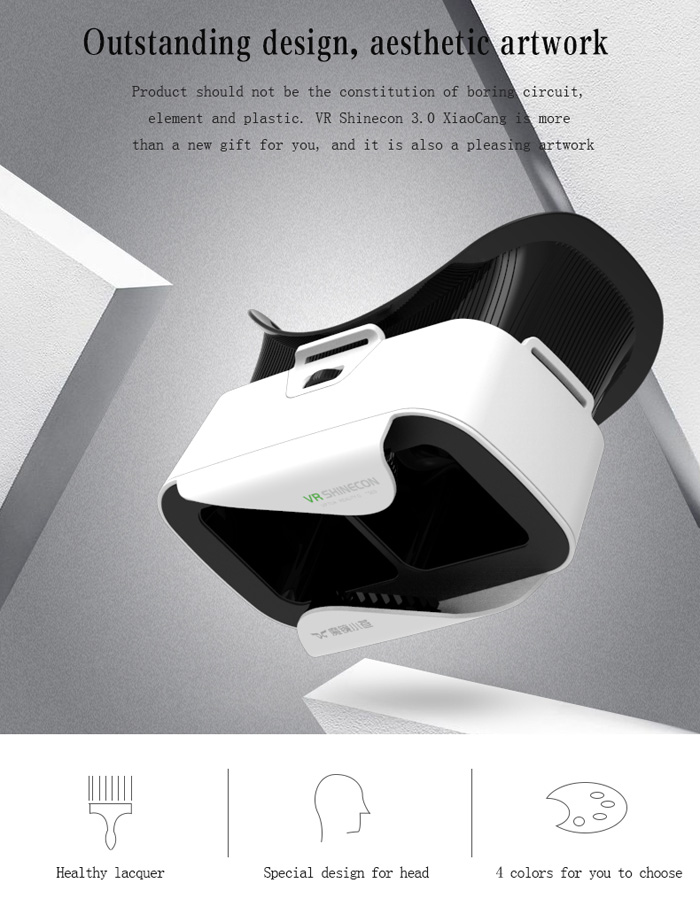VR Shinecon III 3D Glasses Virtual Reality Headset Private Theater Game Video for 4.7 - 6.0 inch Smartphone