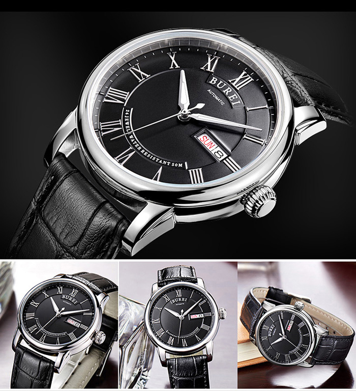 BUREI Retro Fashion Automatic Mechanical Male Watch with Dual Calendar Display Luminous Dial