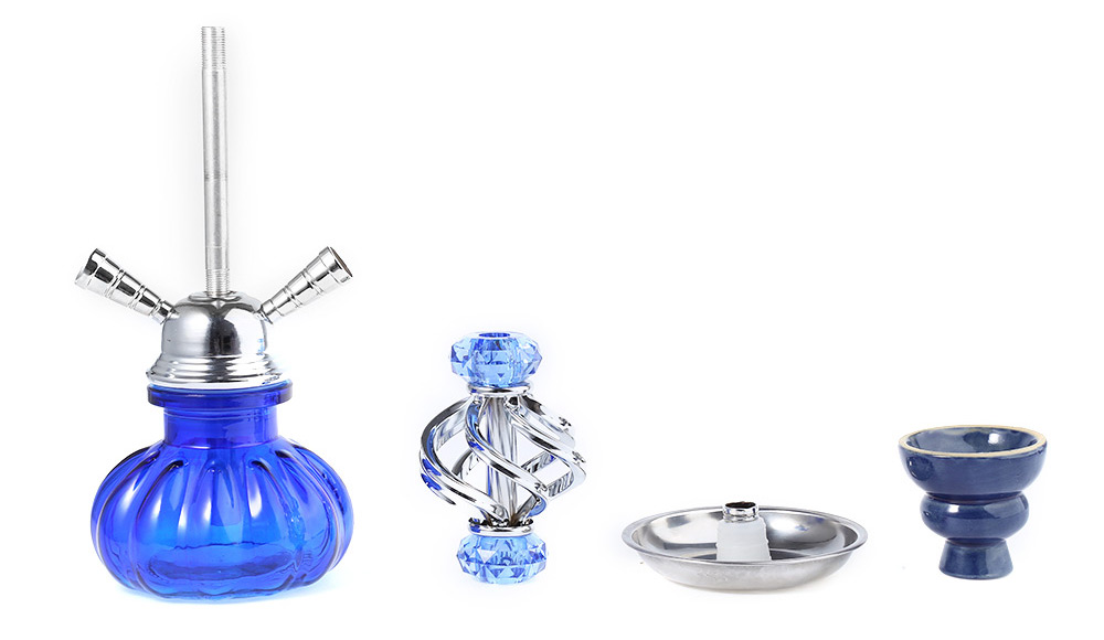 A001 Shisha Hookah Coloured Glaze and Alloy Smoking Water Filter Kit for Two Smokers Using