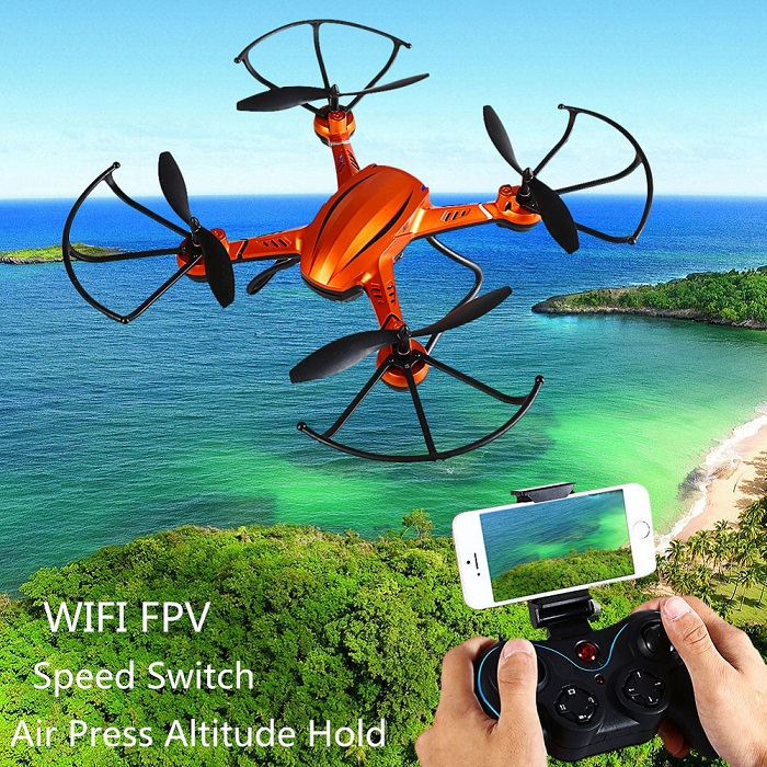 JJRC H12WH 2.4GHz 4CH WiFi Real-time Transmission Air Press Altitude Hold RC Quadcopter Drone - HD Camera