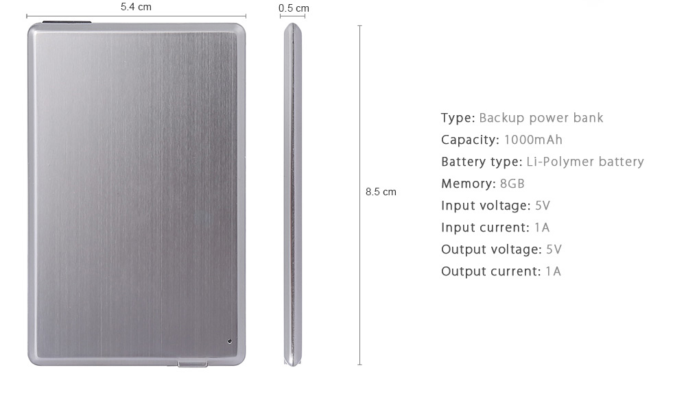 WK - 01 1000mAh Portable Power Bank with 8G USB Flash Disk Ultra-thin Design