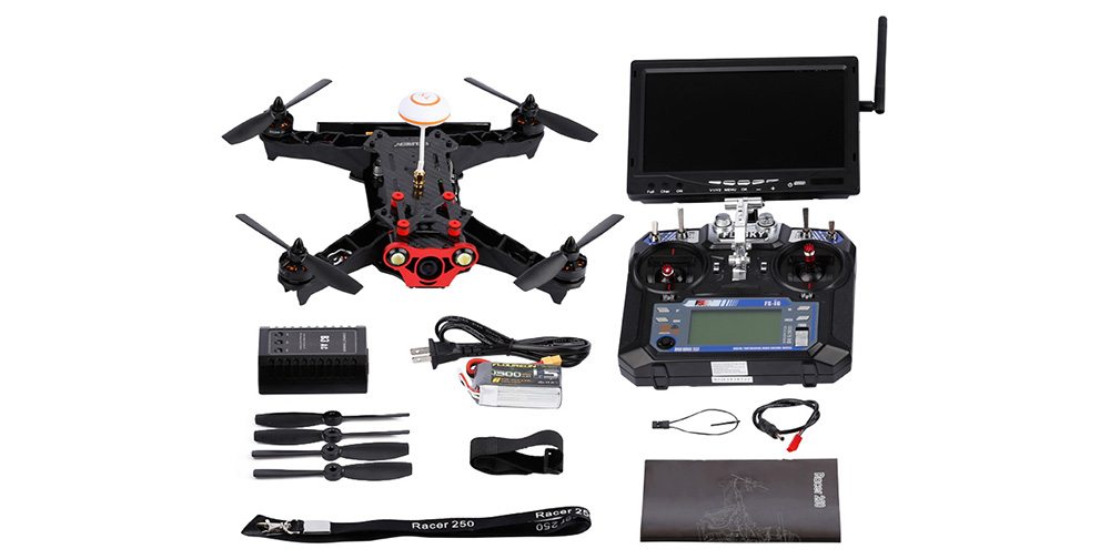 Floureon Racer 250 6CH FPV Racing Drone 1000TVL Camera with 6 Axis Gyro / FLYSKY FS - i6 Transmitter