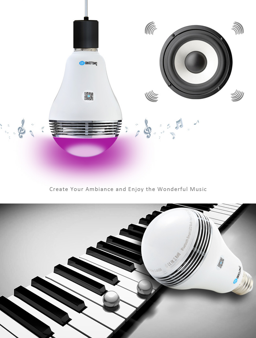 BRELONG Bluetooth 4.0 RGB LED Smart Bulb with HiFi Speaker