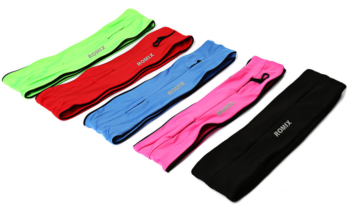 ROMIX Running Band Close Fitting Waist Bag for Jogging Hiking
