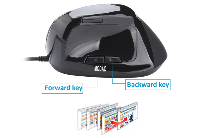 MODAO W30 USB Wired Vertical Mouse with LED Backlit Display