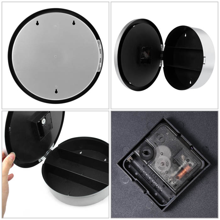 2 in 1 Analog Wall Clock Small Storage Box Home Craft Decorations