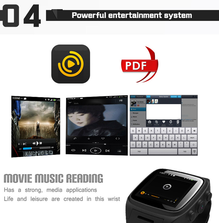 Ourtime X01 Android 4.2 1.54 inch 3G Smartwatch Phone MTK6572 1.3GHz Dual Core 512MB RAM 4GB ROM Waterproof GPS Bluetooth 4.0