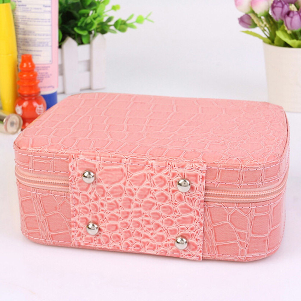 Multi-functional Crocodile Cosmetic Makeup Box Portable Toiletry Small Gadgets Storage Case with Mirror