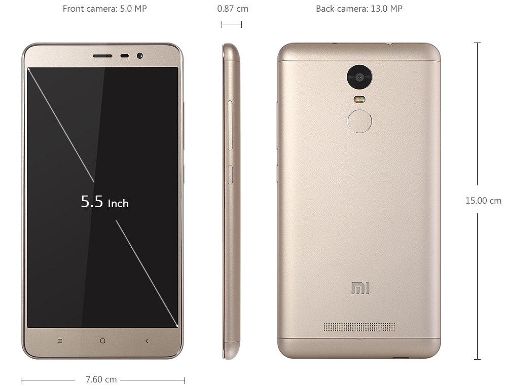 XIAOMI REDMI Note 3 5.5 inch 4G Phablet Android 5.0 Helio X10 64bit Octa Core 2.0GHz 16GB ROM Finferprint ID 13.0MP + 5.0MP Cameras GPS