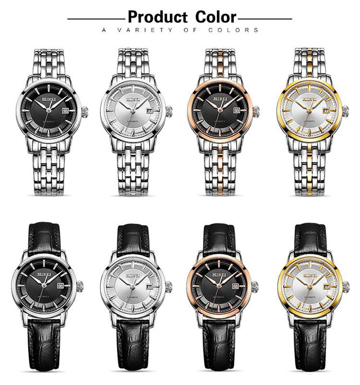 BUREI Business Automatic Mechanical Lady Watch with 24 Pieces Ruby Bearing Sapphire Mirror