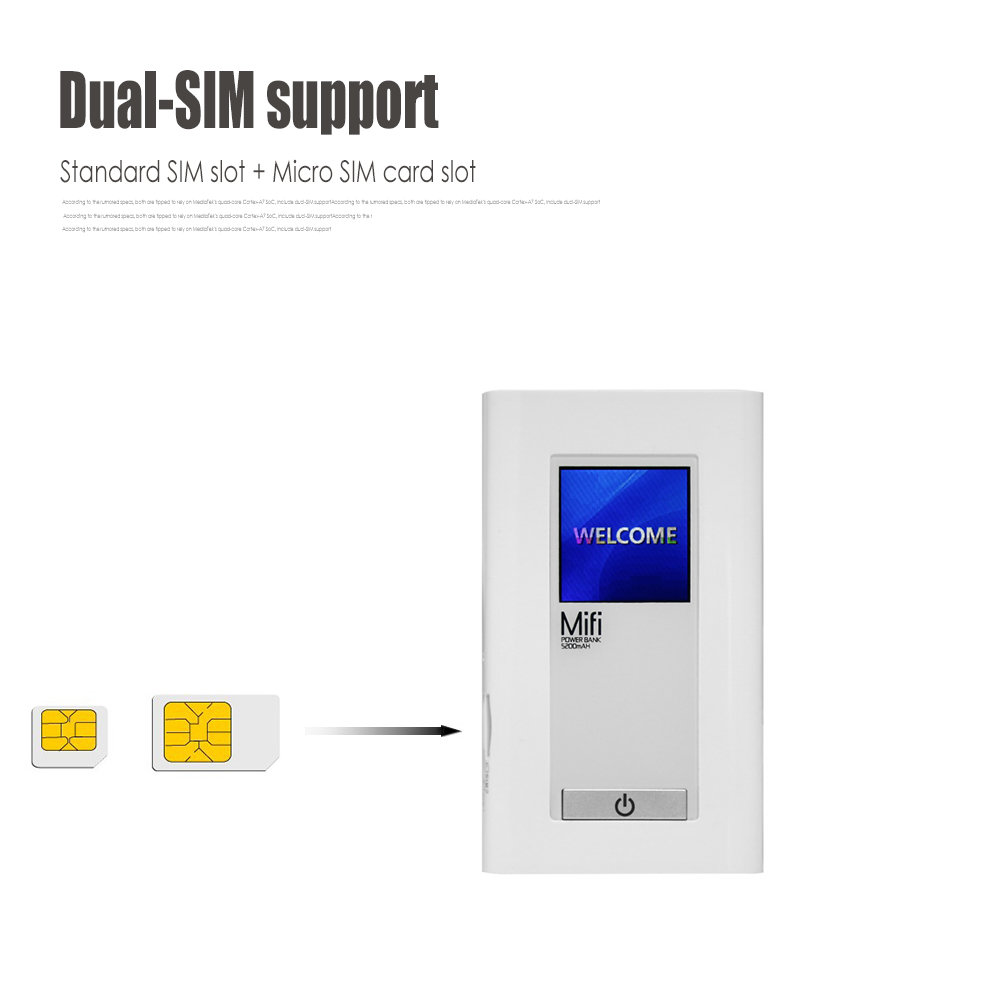 LR511A 5 LTE 4G WiFi Router with 5200mAh Power Bank 2 SIM Slot