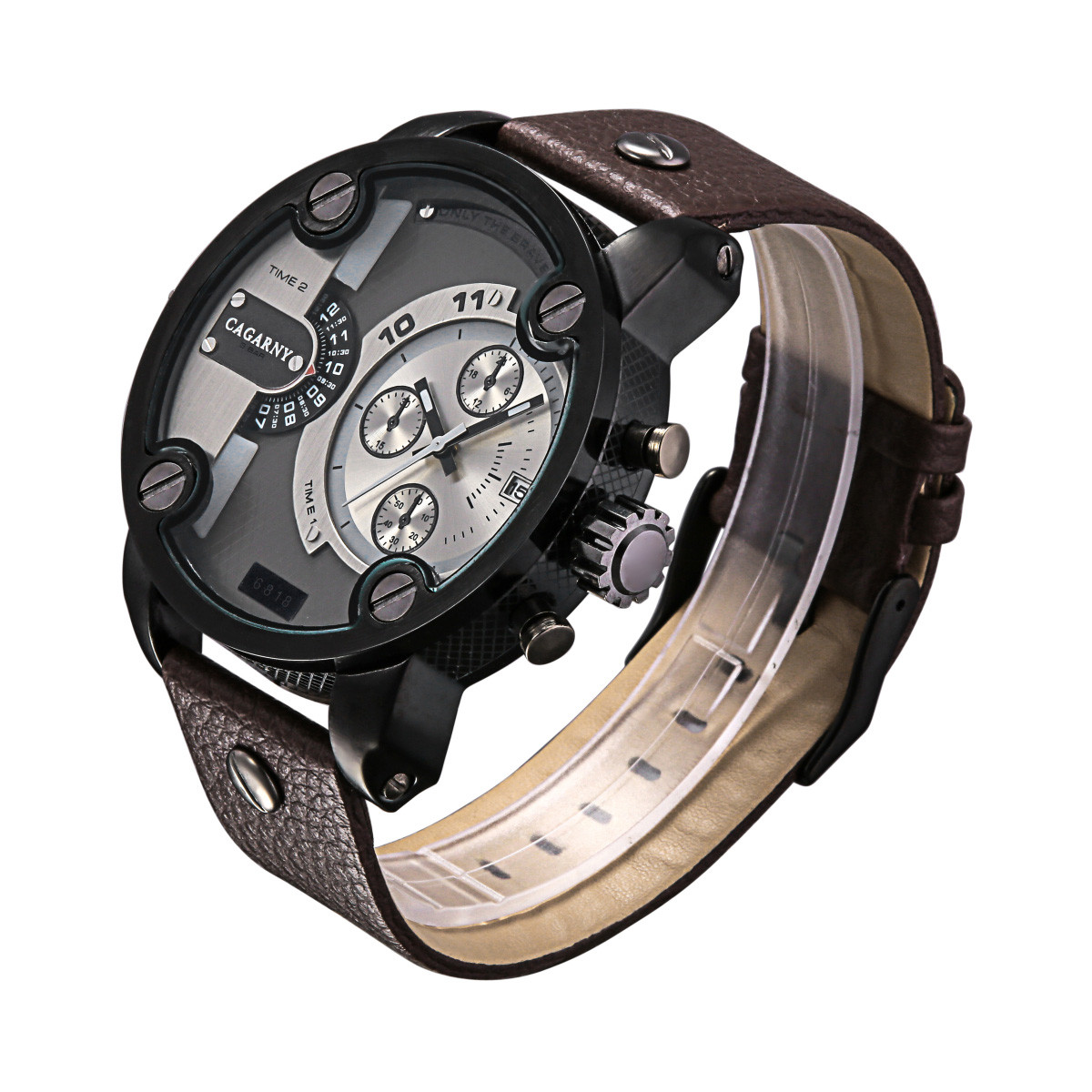CAGARNY 6818 Fashion Male Quartz Watch with Three Decorative Sub-dials