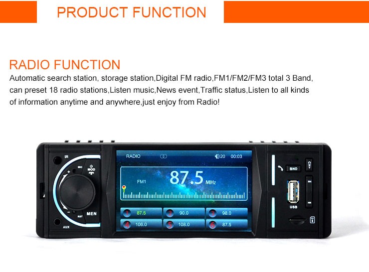 5088 4.1 inch Bluetooth V2.0 Hands-free Call / Reversing Function / MP5 Audio Video Music Movie Player Support AUX in TF Card Play