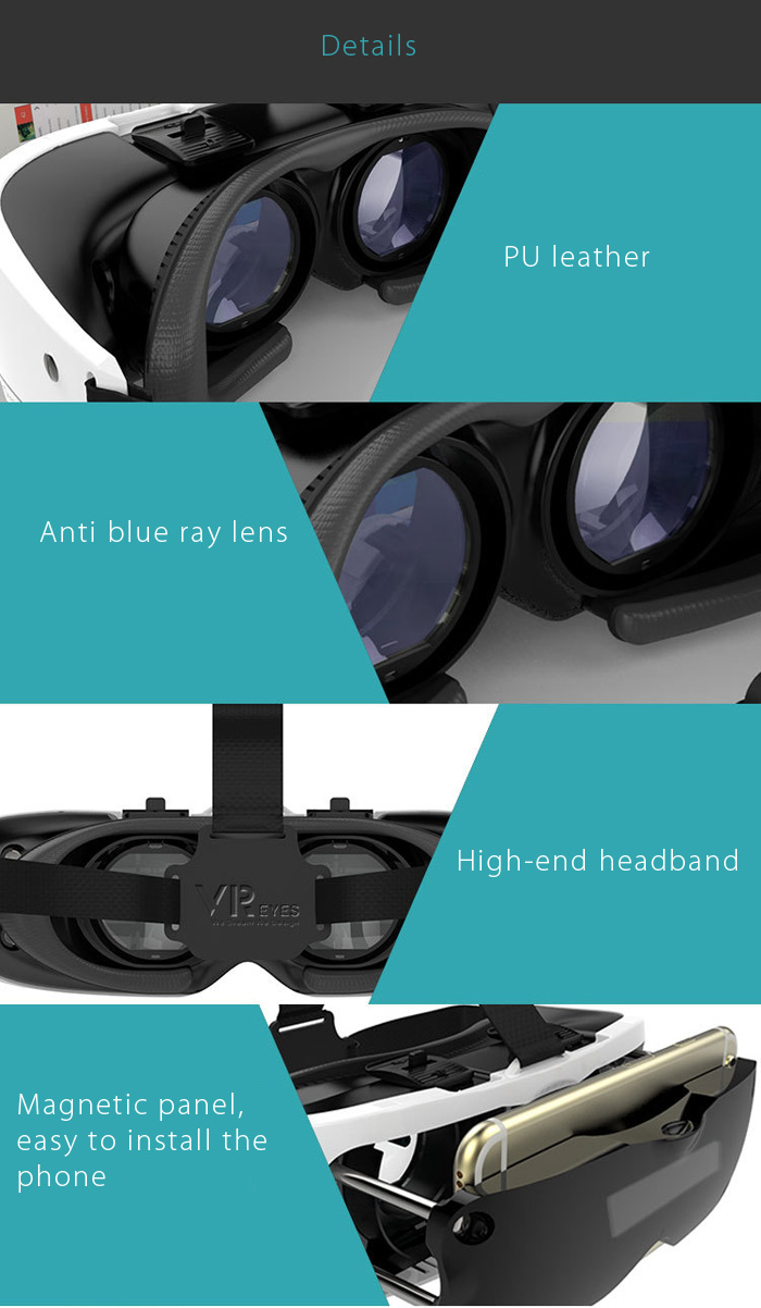 VR Eyes Stretchable VR Virtual Reality 3D Glasses for 4.7 - 5.5 inch Mobile Phone IPD Object Distance Adjustment