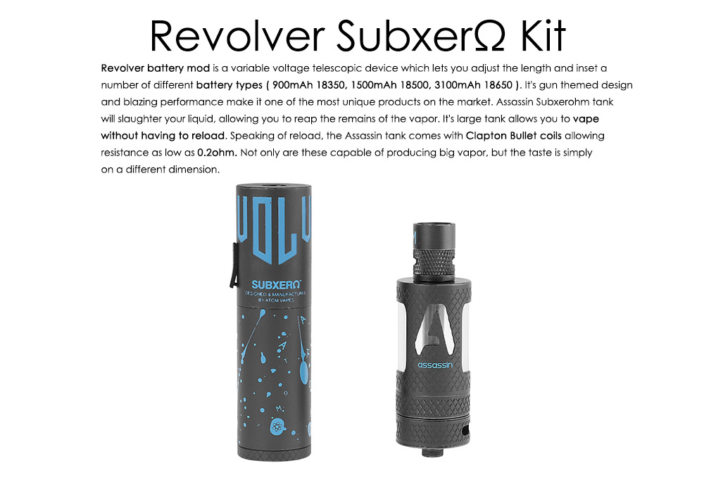 AtomVapes Revolver Subxerohm E Cigarette Kit with 6.0ml / Bottom Airflow Assassin Clearomizer / Supporting 18350 / 18500 / 18650 Battery Mod