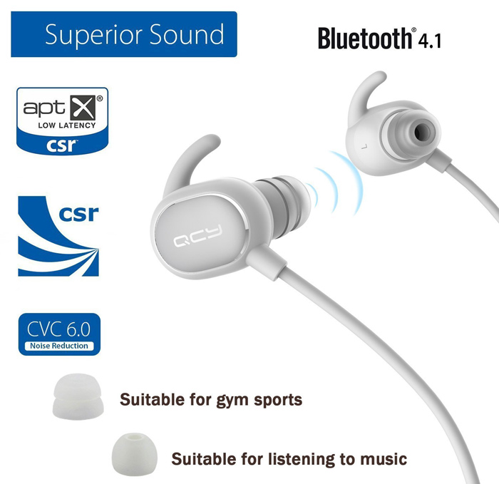 QCY QY19 Bluetooth V4.1 Sport Earbuds with Mic CVC 6.0 Noise Cancelling IPX4 Waterproof Sweatproof