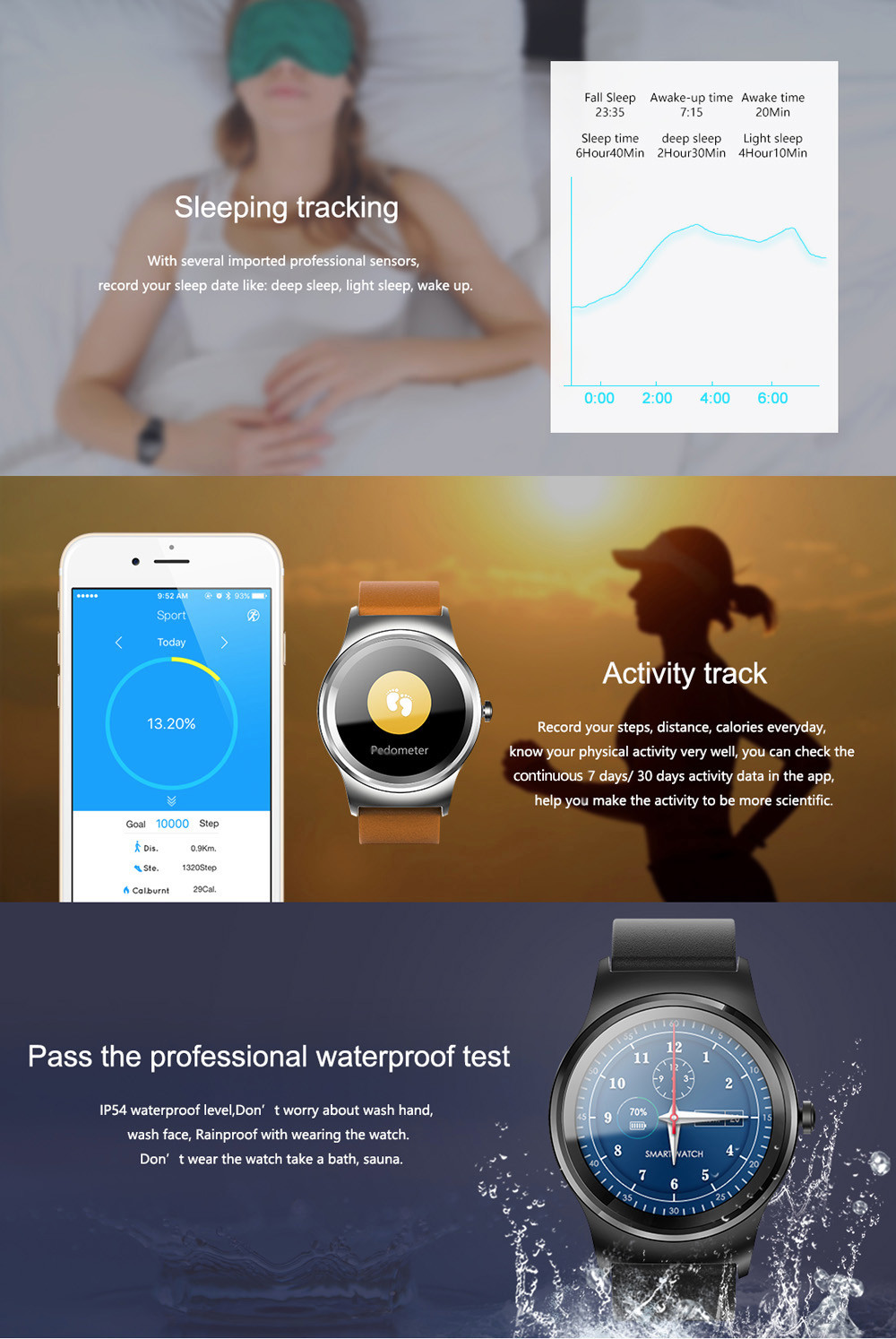 SMA - R Heart Rate Monitor Smart Watch Dual Bluetooth Wristband