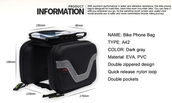 LEADBIKE A42 Touchscreen Water Resistant Double Pouch Bike Phone Bag