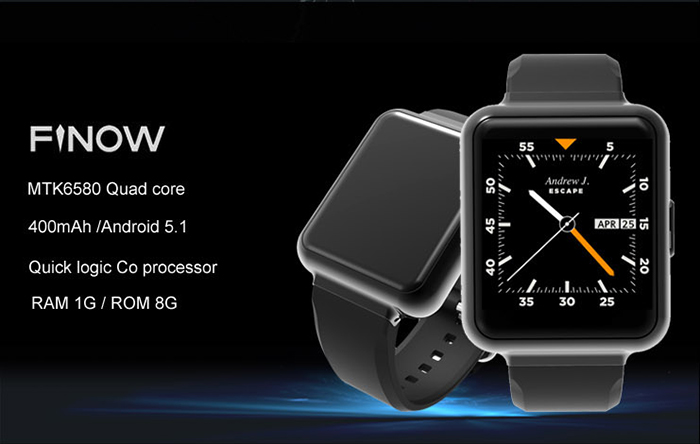 FINOW Q1 Android 5.1 1.54 inch 3G Smartwatch Phone MTK6580 1.3GHz Quad Core 1GB RAM 8GB ROM Pedometer Gravity Sensor