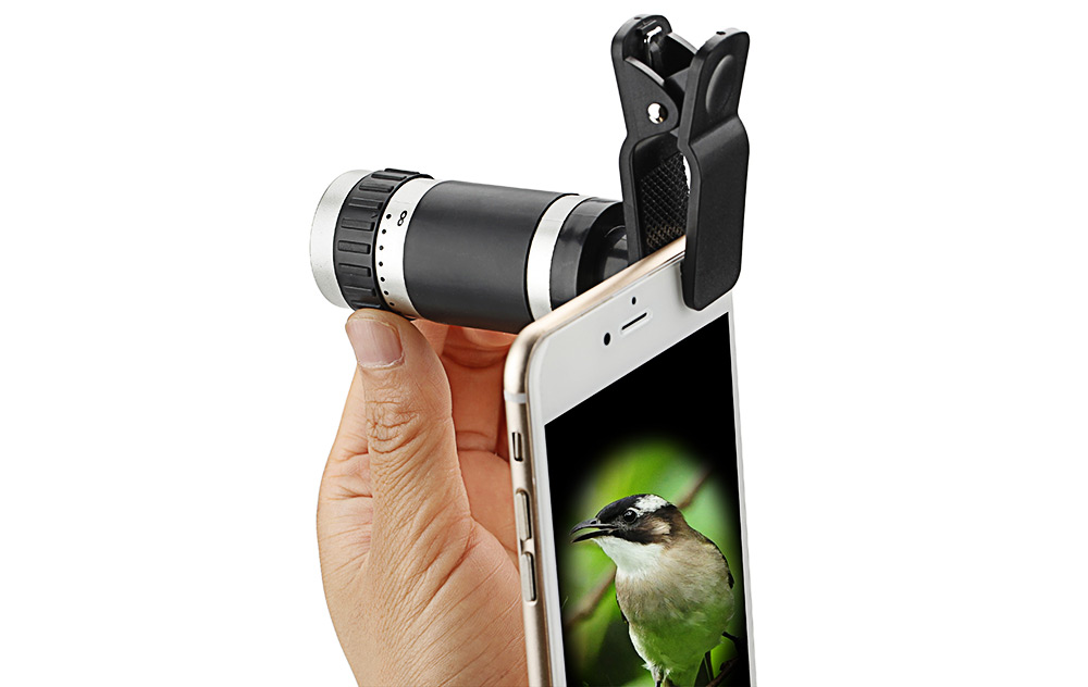 Roof BAK - 4 Prism 8X HD Portable Monocular Mobile Phone Accessory with Clip