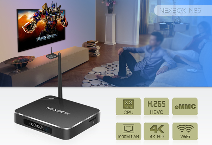 NEXBOX N86 TV Box Rockchip RK3368 Eight Core 64Bit Android 5.1 4K Smart Media Player 2GB 16GB 2.4GHz / 5GHz Dual-band WiFi BT 4.0