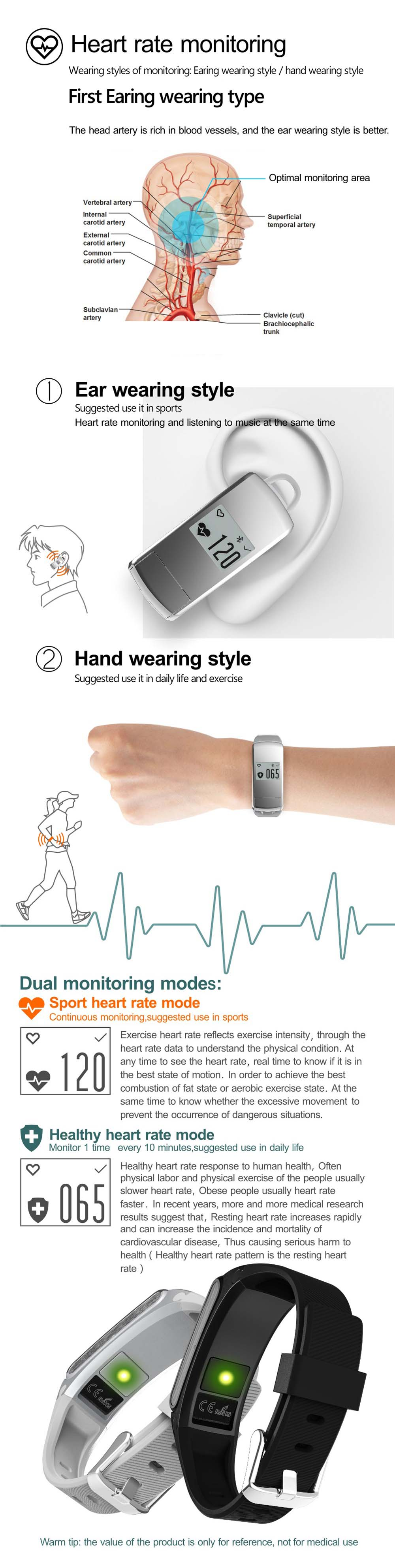 F50 Heart Rate Monitor Smart Wristband with Detachable Bluetooth Headset Function Dial