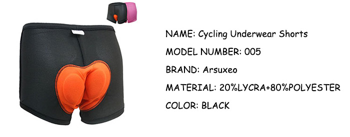 Arsuxeo 005 Breathable Cycling Underwear Shorts with Silicone Pads