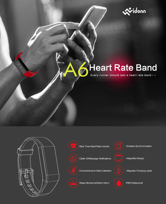 Vidonn A6 Real-time Heart Rate Track Smart Wristband with Wireless Sync