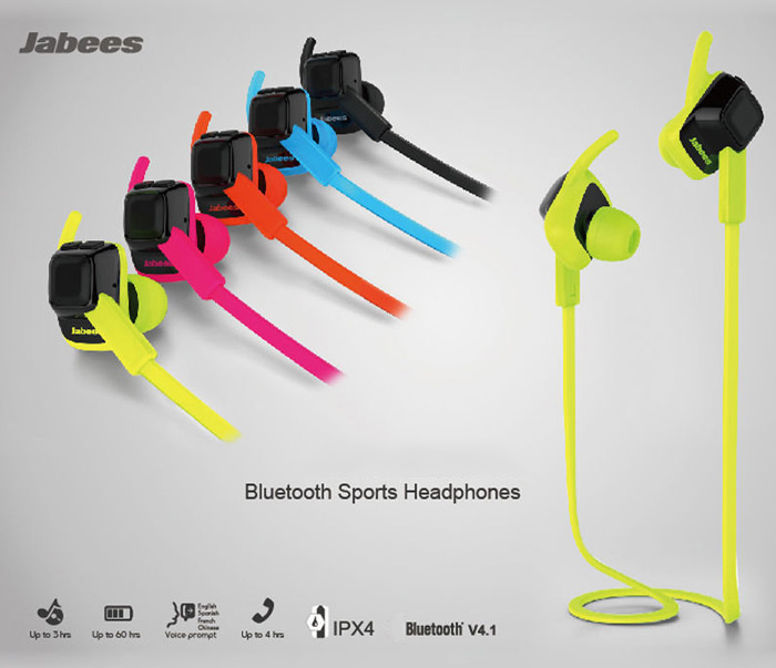 Jabees Bluetooth 4.1 In-ear Stereo Sport Headset with Microphone Support Handsfree Call Waterproof
