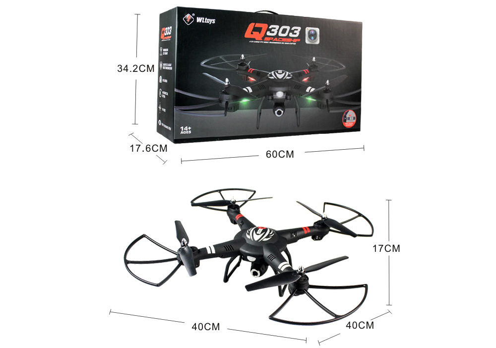 WLtoys Q303 - A 2.4GHz 5.8G 4CH 6 Axis Gyro RC Quadcopter FPV RTF Air Press Altitude Hold LED with HD Camera