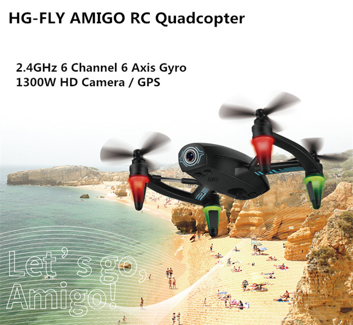 HG - FLY AMIGO FPV 6 Axis Gyro RC Quadcopter with 1300W HD Camera 2.4GHz 6CH GPS Drone