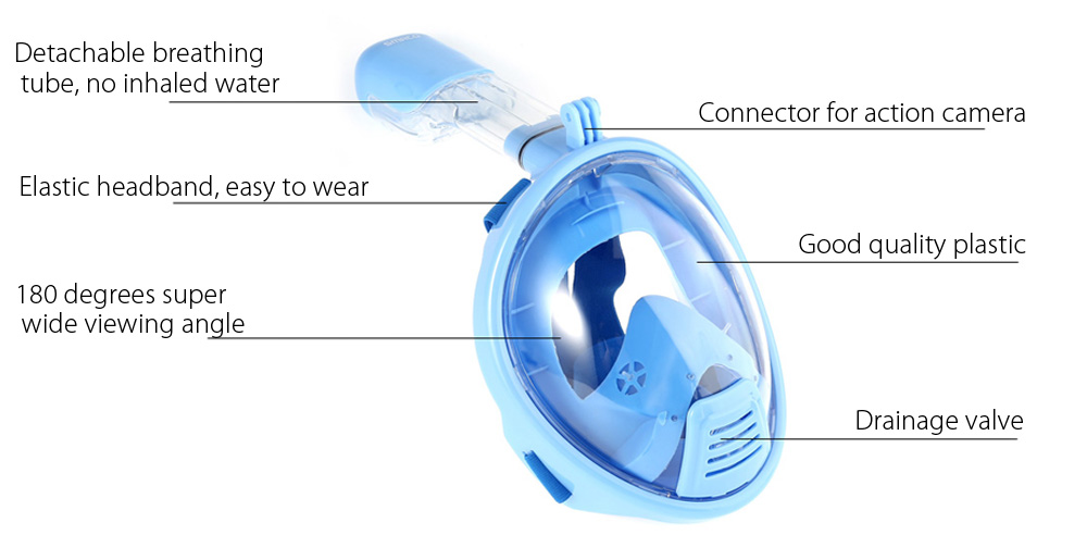 SMACO Children Water Sports Full Face Snorkel Mask Diving Equipment for Action Camera DV XS