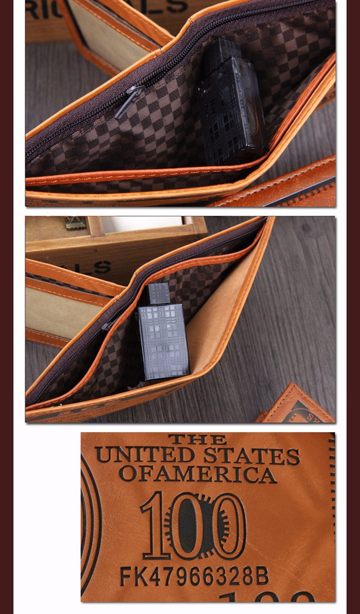 Retro PU Leather Men Wallet with US Dollar Pattern Card Holder