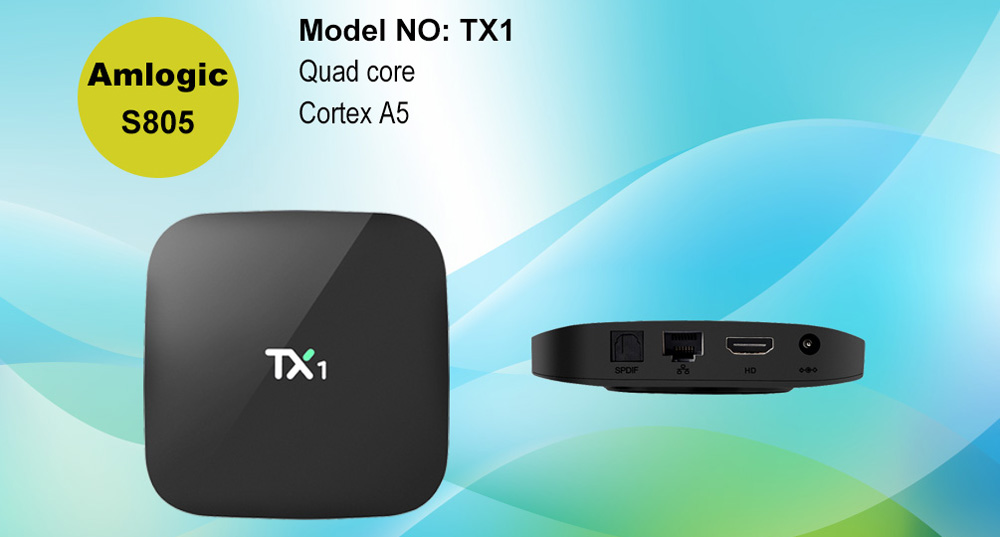 TX1 TV Box 64Bit Android 4.4 Amlogic S805 Quad-core 1GB RAM 8GB ROM 2.4GHz WiFi TV Online Player