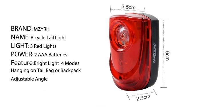 MZYRH C 3 LEDs Bicycle Tail Light 4 Modes for Safe Night Cycling