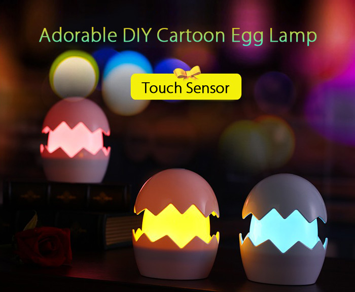 Lovely Egg Shaped Touch Led Night Light Diy Sticker Aaa Usb Operated