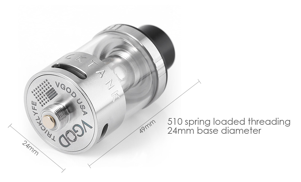 VGOD Trick Tank Atomizer with 3ml Capacity / 0.2ohm / 0.5ohm Coil Head / Top Filling / Bottom Airflow E Cigarette Clearomizer