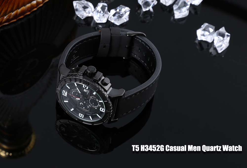T5 H3452G Casual Male Quartz Watch with Working Sub-dial Calendar