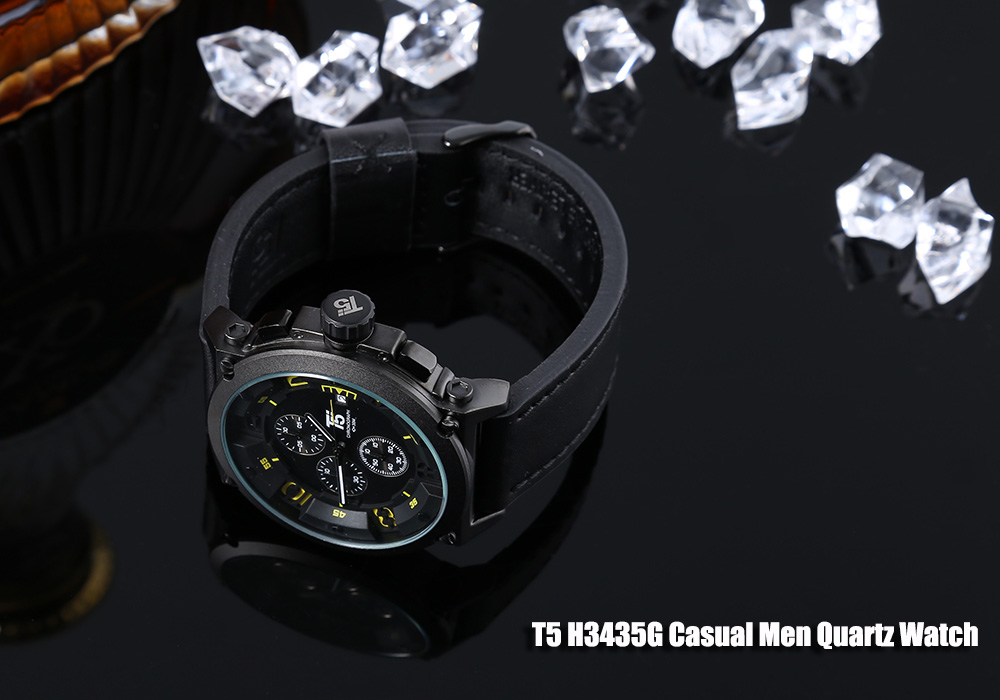 T5 H3435G Casual Male Quartz Watch with Hollow-out Numerals Dial