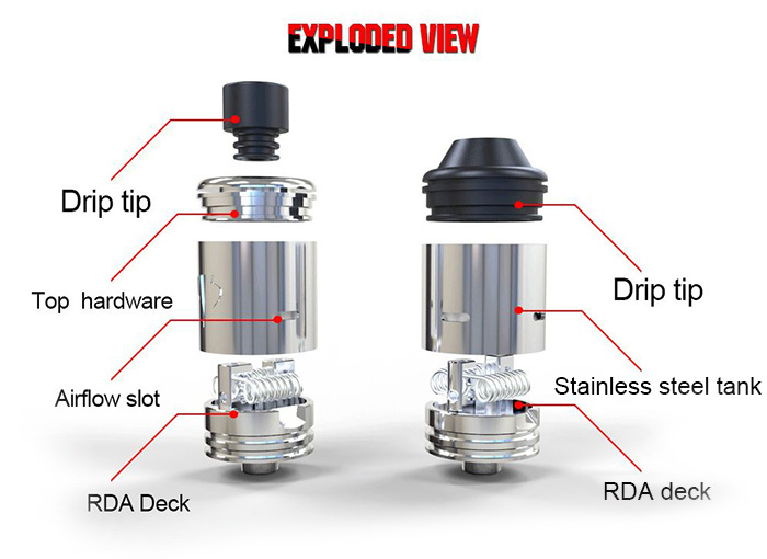 Original Desire Yuri Stainless Steel RDA Rebuildable Dripping Atomizer with Inverted Bevel Bottom Air Intake System for E Cigarette